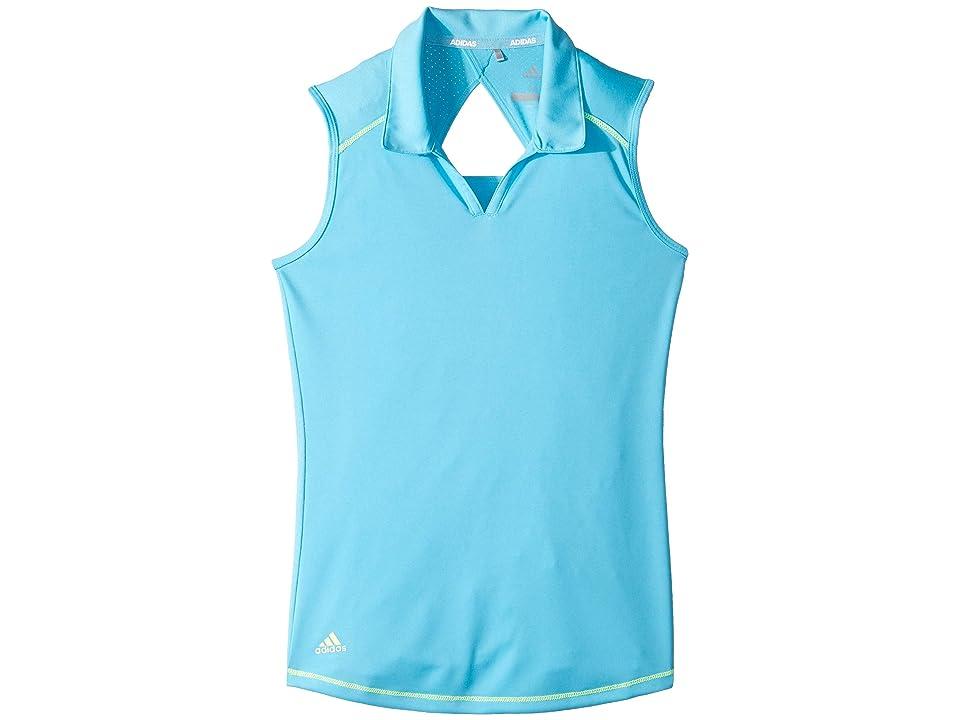 Image of adidas Golf Kids Fashion Sleeveless Polo (Big Kids) (Bright Cyan) Girl's Sleeveless