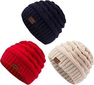 Kids Winter Knit Hat Warm Fleece Lined Hats Children Cable Baby Beanie Skull Cap for Girls Boys