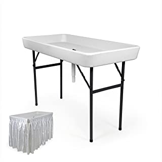RecPro 4 Foot Cooler Ice Table Party Ice Folding Table with Matching Skirt - White