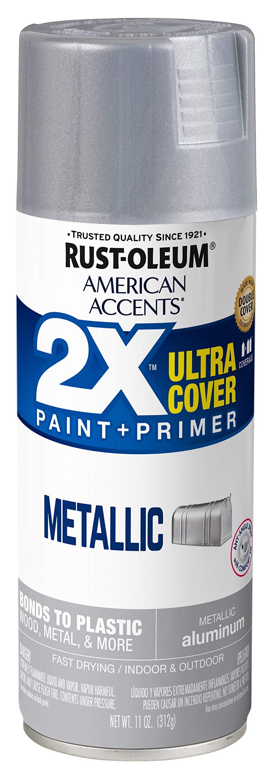 Rust-Oleum 327907 American Accents 2X Ultra Cover Spray Paint, 11 oz, Metallic Aluminum