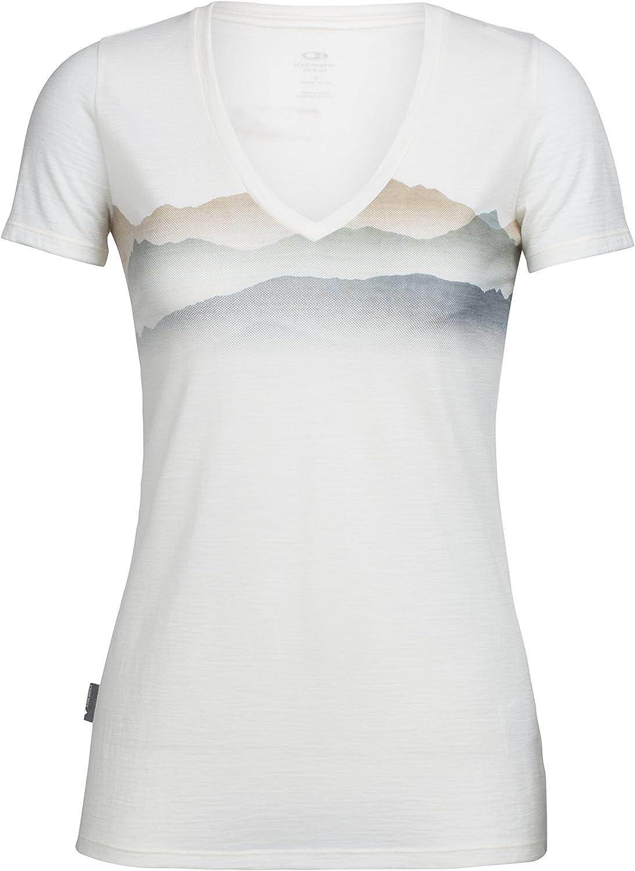 Icebreaker Merino Women's Tech Lite Short Sleeve V Misty Horizon Graphic Athletic T Shirts