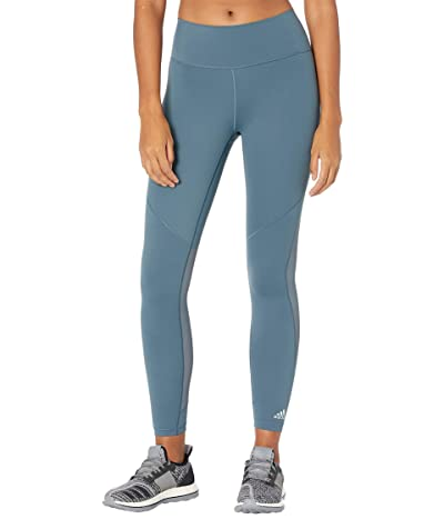 adidas Believe This 3-Stripes Studio Mesh Tights (Legacy Blue/Green Tint) Women