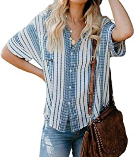 Comaba Women Short-Sleeve Loose Stripe Turn-down Collar Weekend Tunic Top Blouse