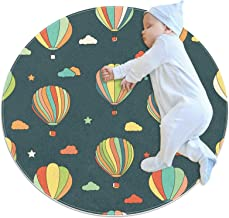 Varmluftsballonger, barn rund matta polyester överkast matta mjuk pedagogisk tvättbar matta barnkammare tipi-tält lekmatta