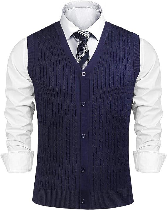 1920s Style Mens Vests Aibrou Mens V-Neck Button Front Sweater Vest Twist Cable Knitwear Cardigan Waistcoat  AT vintagedancer.com