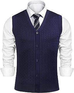 Sykooria Men's Gilets V Neck Sleeveless Jumper Vest Knitwear Cardigans Knitted Waistcoat Sweater Cotton Casual Autumn Wint...