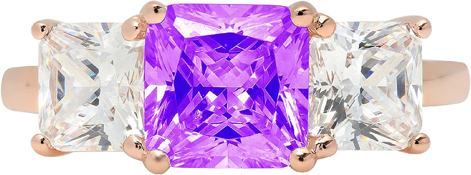 3.19ct Square Emerald Baguette cut 3 stone Solitaire Natural Purple Amethyst Gem Stone Ideal VVS1 Engagement Promise Statement Anniversary Bridal Wedding ring Solid 14k Pink Rose Gold
