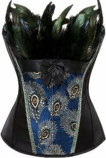 Corsets for Women Costume Lingerie Bustier Top Satin Floral Lace up Trim Plus Size
