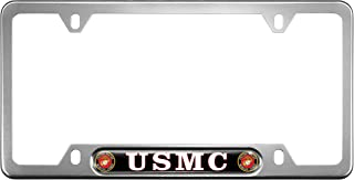 USA Patriotic Anodized Aluminum Thin Top   Narrow Top Car License Plate Frame with USMC   Marines - Black Insert with Free caps - Silver