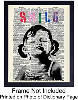 Banksy Poster Dictionary Art Home Decor - Upcycled Vintage Graffiti Wall Art Print - Unique Room Decorations for Office, Dorm, Classroom - Gift for Street Art, Mural Fans - 8x10 Photo Unframed - Smile