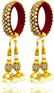 Aashya Mayro Set of 2 Pearl Rakhi for Bhabhi, Gold Plate, Pearl Jumar Latkan, Kaleera, kalere for Bridal Wedding Adjustabl...