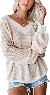 FAFOFA Women V Neck Long Sleeve Waffle Knit Blouse Casual Pullover Shirt Tops