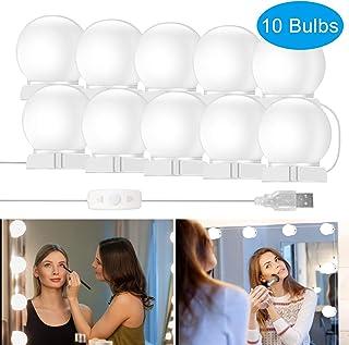 Luces de Espejo de Tocador, innislink Luces Espejo LED Estilo Hollywood con 10 Bombillas Regulables USB Operado Luces Tocador Maquillaje Kit Luces Espejo de vanidad para Mesa Cosmético Baño Vestidor