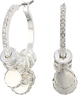 Micropave Charm Hoop Earrings