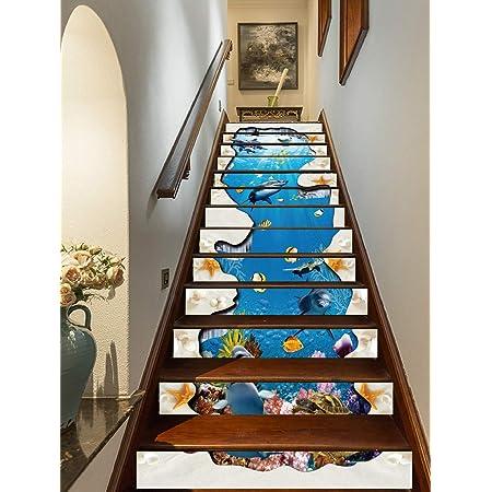 Vosarea 3D Sea Life Sticker mural Dauphin U Bateau Fen/être Carrelage Autocollants Mer Marine Sticker mural Hublot D/écoration pour WC Bain Salon Chambre