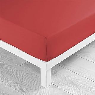 douceur d'intérieur - 1640326 - New Drap Housse - Jersey Uni Rouge - 140 x 190 cm