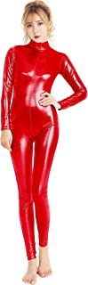 speerise Womens Shiny Metallic Catsuit Long Sleeve Unitard Bodysuit