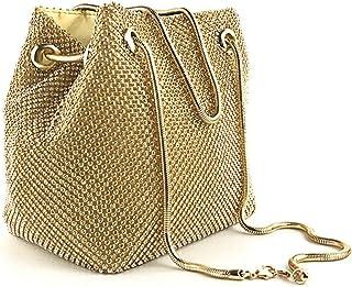 JUNfenghe Women's mesh Diamond Sequins Twill Bucket Bag/Fashion Portable Banquet Bag Evening Bag Chain Shoulder Bag Black/Gold/Silver Size: 15.5 * 11 * 17cm (Color : Gold)