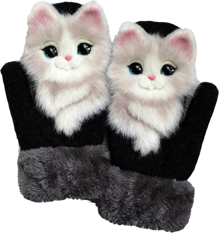 Girls Women Plush Gloves Hand-Knit Cute Animal Pet Mittens Gloves Winter Warm Novelty Gloves