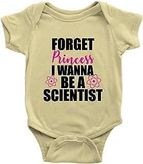 Forget Princess I Wanna Be A Scientist Onesie Cute Girl Feminist Science Baby Bodysuit (Lemon, NB)
