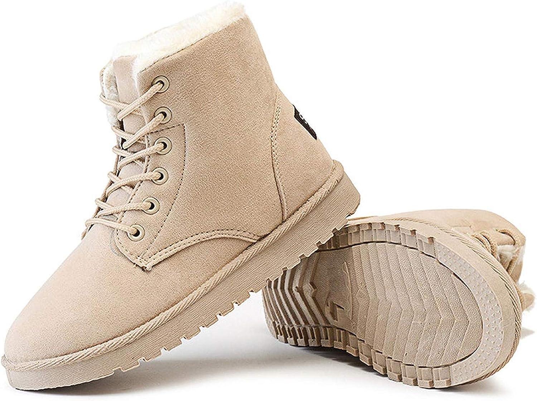 SmarketL Classic Women Winter Boots Suede Ankle Snow Female Warm Fur Plush Insole Boots,Make,Beige,