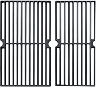 Hongso Cast Iron Cooking Grid Grates Replacement Parts for Brinkmann 810-3820-S, 810-3821-F, 810-3821-S, Dyna-Glo DGP350NP and Master Forge MFA350CNP Gas Grill Models, 17 5/8 Inch, Set of 2 (PCG222)