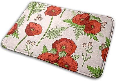 Decorative Doormat Home Decor Poppies Bohemian Welcome Indoor Outdoor Entrance Bathroom Floor Mats Non Slip Washable Mat, 23.6 x 15.7 inch