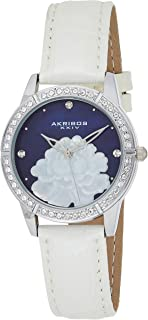 Akribos Xxiv Women'S Blue Mop Dial Leather Band Watch - Ak805Bu