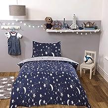 Dreamscene Moon Galaxy Duvet Cover with Pillowcase Reversible Night Sky Bedding Set, Navy Blue Grey Stars, Junior/Cot