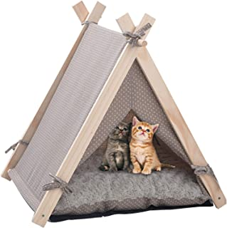LuckerMore Pet Teepee Tent Dog & Cat Tent Bed Small Washable with Soft Bed Padding for Kitty Puppy Small Dog