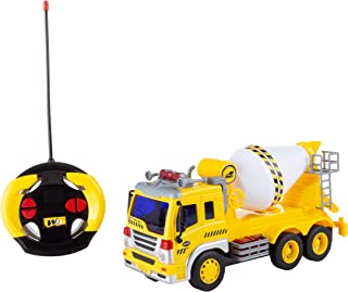 Hey! Play! Remote Control Cement Mixer Truck– 1: 16 Scale, Fully Functional Rotating Concrete Construction RC Vehicle with Lights & Sound for Kids