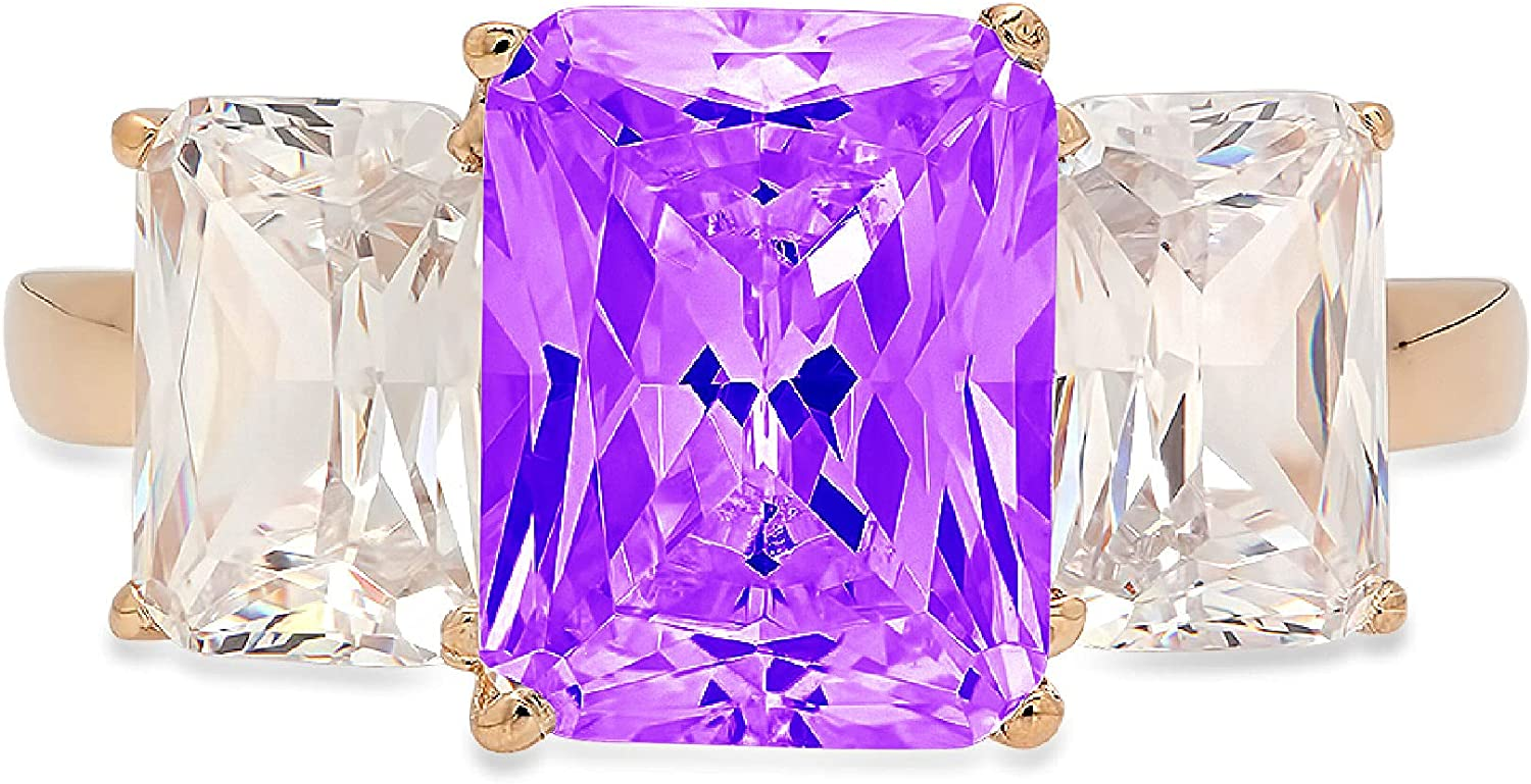 3.94ct Brilliant Emerald Cut 3 Stone Solitaire with Accent Natural Purple Amethyst Gem Stone Ideal Engagement Promise Statement Anniversary Bridal Wedding ring 14k yellow Gold