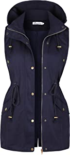 Twinklady Women's Sleeveless Lightweight Zip Up Military Safari Hood Anorak Jacket Vest