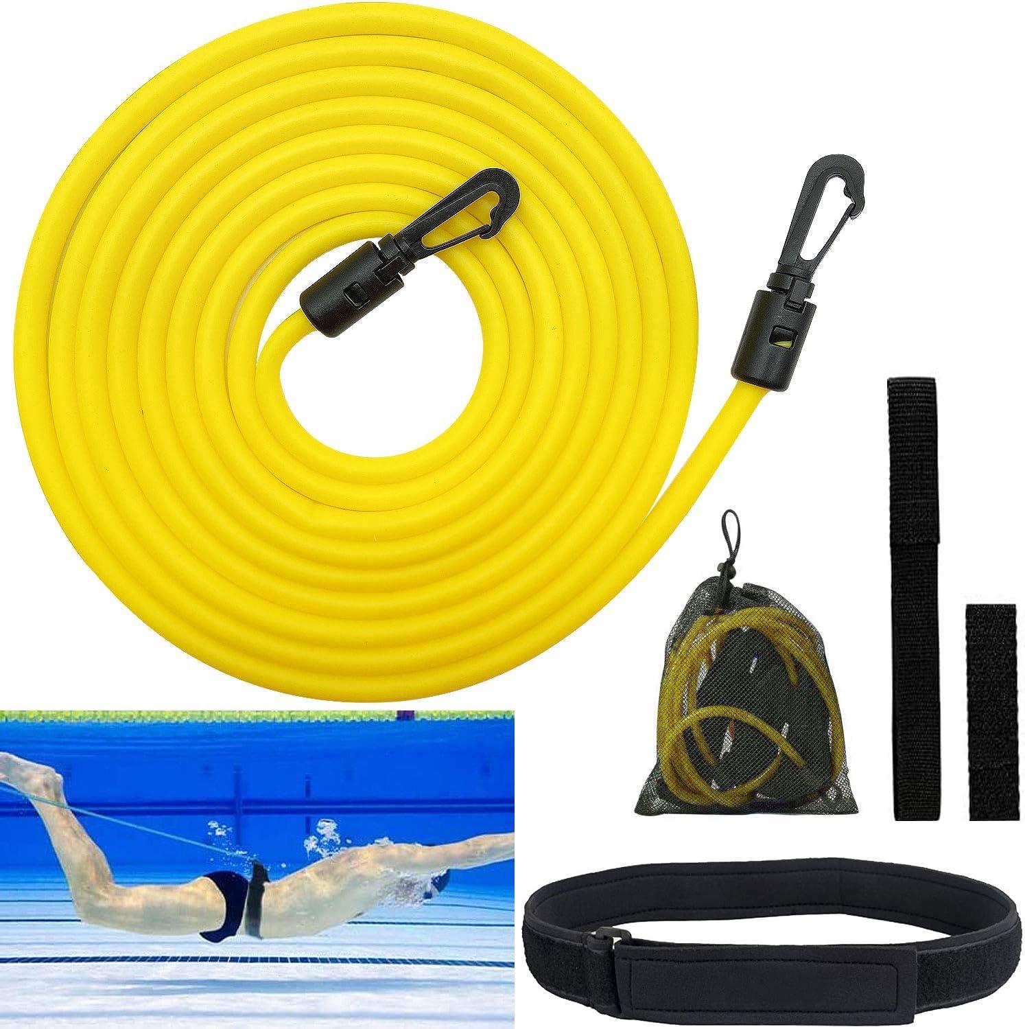 Cinturon Entrenamiento Natacion, Cinturón de Natación Ajustable, 4m Cuerda EláStica para Entrenamiento De Resistencia Estacionaria, para Piscinas de Natación