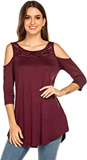 Grabsa Women's Cold Shoulder Lace Blouse Half Sleeve Top Flowy Tunic Casual Loose T Shirt