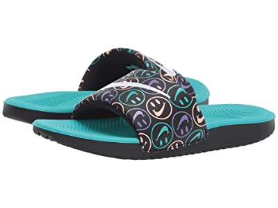 Nike Kids Kawa Slide Print (Little Kid/Big Kid) (Black/White/Space Purple/Hyper Jade) Boys Shoes