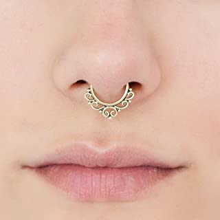 Fake Septum Nose Ring, Indian Tribal Style Faux Brass Clip On Non Pierced Septum Hoop, 18g, Handmade Designer Piercing Jewelry