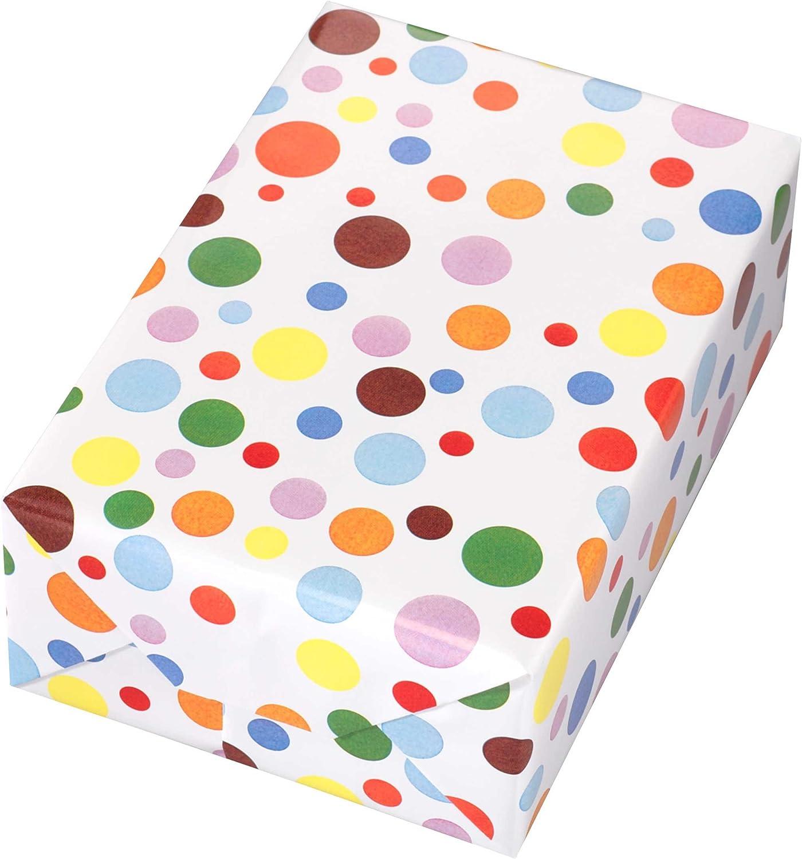 Geschenkpapier Rolle 50 cm x 50 m, Motiv Ballero, bunt glänzendes Punkte-Design. Für Geburtstag, Kinder. B07BB6Q9HY  | Berühmter Laden
