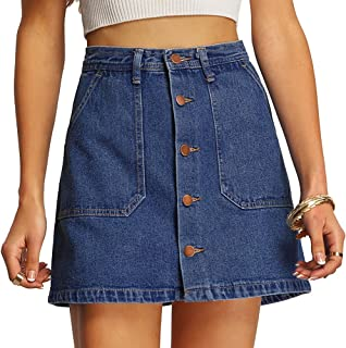 SheIn Women's Button Front Denim A-Line Short Skirt