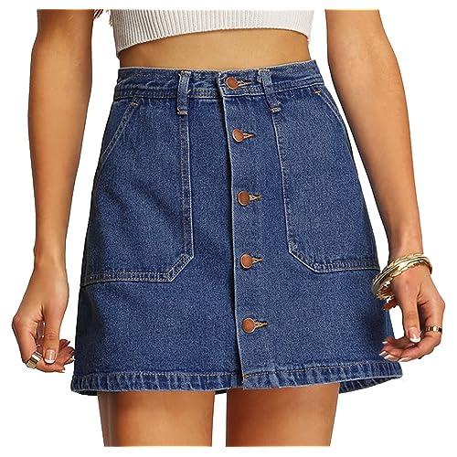 baa150932 Verdusa Women's Button Front Denim A-Line Short Skirt