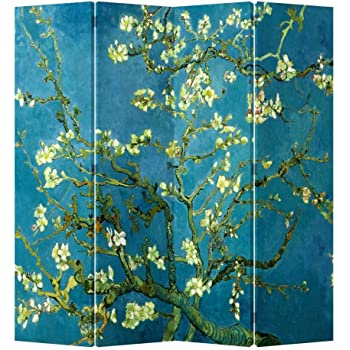 Fine Asianliving Room Divider 4 Panel Chinese Yellow Blossoms