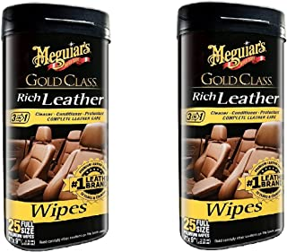 Meguiar's G10900 Gold Class Rich Leather Cleaner & Conditioner Wipes, 2 Pack