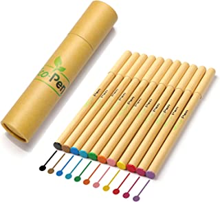 Eco Pen Best Eco-Friendly Colorful Fine Point Roller Ball Pen Set | Assorted Colors | Bright Colored Ink | Made from Biodegradable Recycled Cardboard and Plastic | 0.38mm Ultra-Fine Point | 12 Count P