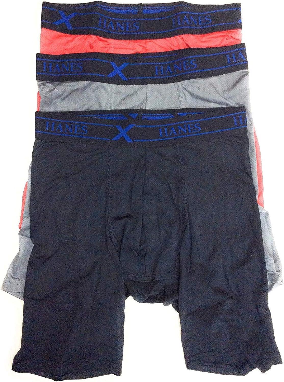 Hanes Men's Tagless Mesh Performance Boxer Briefs X-Temp Sizes S, XL Assorted Colors