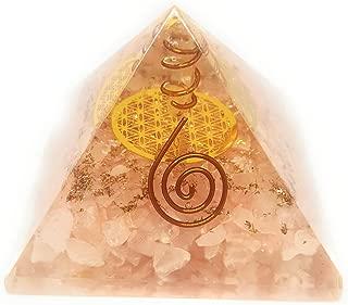 ORGONE Pyramid Rose Quartz with The Flower of Life Symbol,ORGONITE Energy Generator with Crystal Quartz Point & Exquisite Gemstones & Reiki Energy