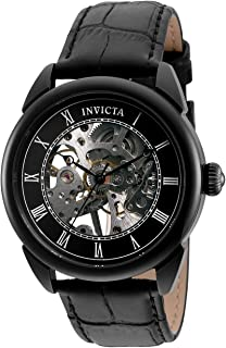 Invicta Men's Specialty Stainless Steel Mechanical Hand Wind Watch with Leather Strap, Black, 22 (Model: 32632)