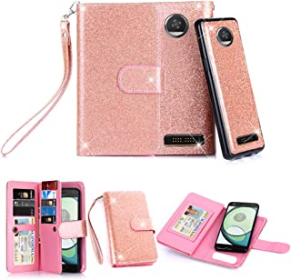 TabPow Moto Z Play Droid Case, 10 Card Slot - [ID Slot] Wallet Folio PU Leather Case Cover With Detachable Magnetic Hard Case For Motorola Moto Z Play Droid (2016) - Glitter Rose Gold