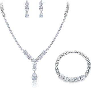 Clearine Women's Wedding Bridal CZ Floral Twig Leaf Y-Necklace Bracelet Earrings Set Clear Silver-Tone