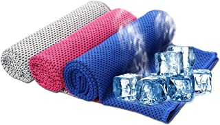 SHISHUO Cooling Towel - 3 Pack Ice Cold Instant Relief Quick Dry Sweat Towel for Sports 85 x 30 cm (Gray, Purple, Dark Blue)