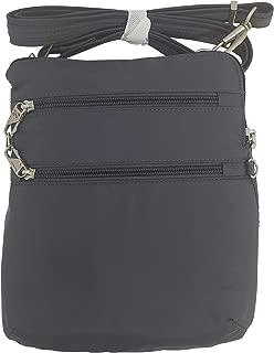 Travelon Anti-Theft Classic Slim Dbl Zip Crossbody Bag (Dark Grey/Grey Lining)